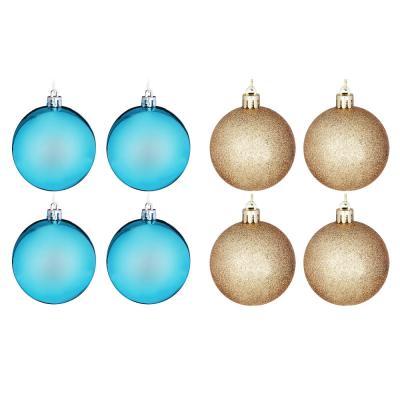 372-406 Елочные шары набор СНОУ БУМ 8 шт, 6см, пластик, в тубе, бирюзовый и золотой глиттер