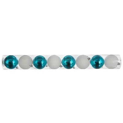 372-408 Елочные шары набор СНОУ БУМ 8 шт, 6см, пластик, в тубе, белый глиттер и голубой