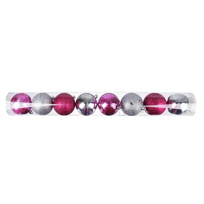 372-409 Елочные шары набор СНОУ БУМ 8 шт, 8см, пластик, в тубе, лиловый и серебряный
