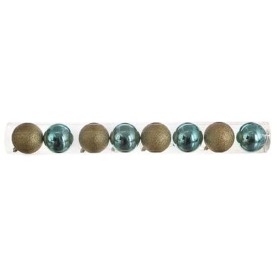 372-410 Елочные шары набор СНОУ БУМ 8 шт, 8см, пластик, в тубе, бирюзовый и золотой