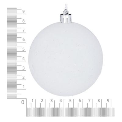 372-411 Елочные шары набор СНОУ БУМ 8 шт, 8см, пластик, в тубе, белый глиттер и голубой