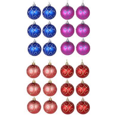 373-185 Елочные шары набор СНОУ БУМ 6 шт, 6 см, пластик, в коробке ПВХ, 4 дизайна