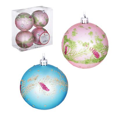 373-189 Елочные шары набор СНОУ БУМ 4 шт, 8 см, пластик, в коробке ПВХ, лиловый и бирюза, 2 дизайна