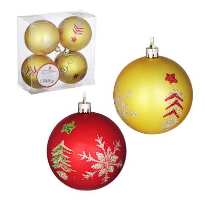 373-190 Елочные шары набор СНОУ БУМ 4 шт, 8 см, пластик, в коробке ПВХ, красный и золото, 2 дизайна