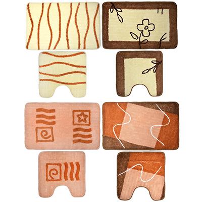 462-650 VETTA Набор ковриков 2шт для ванной и туалета, акрил, 50x80см + 50x50см, бежевый 4 дизайна