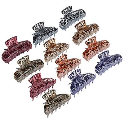 324-132 Заколка-краб, пластик, 8,5см, 2 дизайна, 6 цветов, ЗК19-03