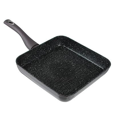 846-479 SATOSHI Валькур Сковорода-гриль литая 26х26см, антипригарное покрытие мрамор, индукция