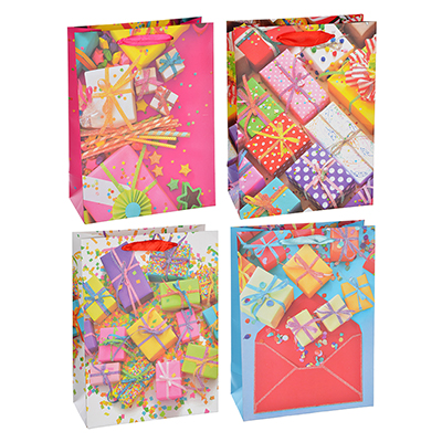 507-985 Пакет подарочный, высококачественная бумага с глиттером, 18х24х8,5 см, 4 цвета, с подарками