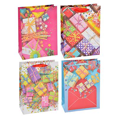 507-986 Пакет подарочный, высококачественная бумага с глиттером, 26х32х10 см, 4 цвета, с подарками