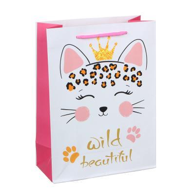 507-987 Пакет подарочный, высококачественная бумага, 18х24х8,5 см, 4 цвета, банты