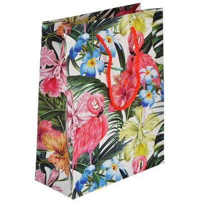 507-989 Пакет подарочный, высококачественная бумага с глиттером, 18х23х8 см, 4 цвета, фламиного