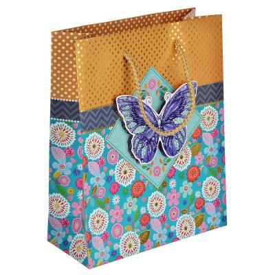 507-991 Пакет подарочный, высококачественная бумага с глиттером, 18х23х8 см, 4 цвета, с бабочками 3D
