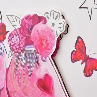 507-994 Пакет подарочный, высококачественная бумага с глиттером, 3D, 26х32х10 см, 4 цвета, арт 3-5