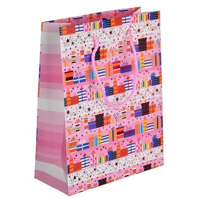507-996 Пакет подарочный, высококачественная бумага с глиттером, 18х23х8 см, 4 цвета, арт 3-7