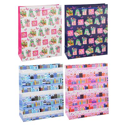 507-997 Пакет подарочный, высококачественная бумага с глиттером, 26х32х10 см, 4 цвета, арт 3-8