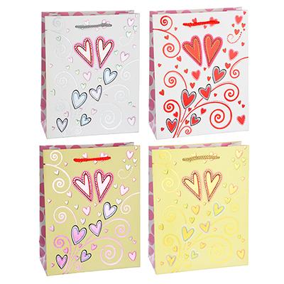 505-011 Пакет подарочный, высококачественная бумага с фольгированным нанесением, 18х23х8 см,4 цвета,арт 3-10
