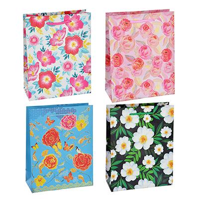 505-015 Пакет подарочный, высококачественная бумага с глиттером, 18х23х8 см, 4 цвета, летние цветы
