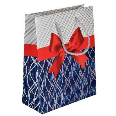 505-016 Пакет подарочный, высококачеств. бумага с фольгир.нанесением,18х23х8 см,4 цвета,рисунок с бантиками