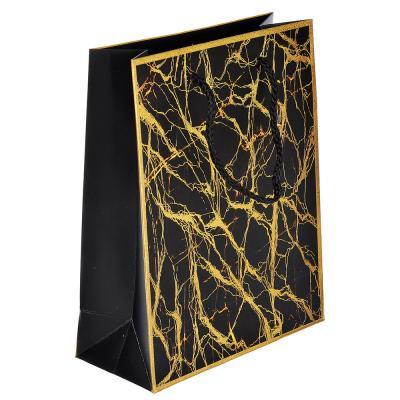 505-018 Пакет подарочный, высококачественная бумага с глиттером, 18х23х8 см, 4 цвета, мраморные