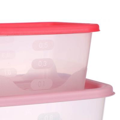 861-261 Набор пищевых контейнеров 3 шт (0,5 л, 0,9 л, 1,55л), квадратные, пластик