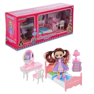 278-100 ИГРОЛЕНД Набор игровой кукла с мебелью, 6-22пр., пластик, 40х18х10см, 2 дизайна