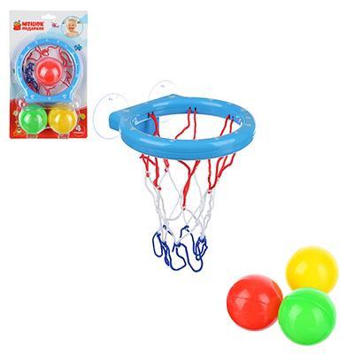 260-019 МЕШОК ПОДАРКОВ Корзина баскетб. д/ванной на присосках с тремя мячиками,пластик,27х16,4х7см,4 цвета