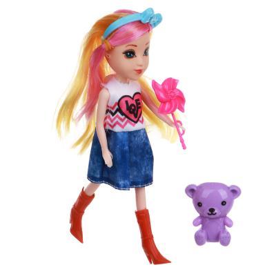 267-819 ИГРОЛЕНД Кукла с цветными волосами, 15 см, пластик, полиэстер, 6х17,5х5см, 6 дизайнов