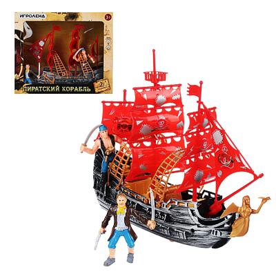 """276-084 ИГРОЛЕНД Набор игровой """"Пираты на корабле"""", 3пр, пластик, 27,5х23х9см"""