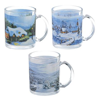 820-051 Зима в деревне Кружка, 320мл, стекло, 3 дизайна