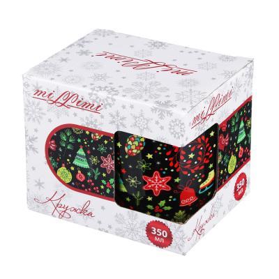 820-052 Кружка MILLIMI Праздничная 350 мл, керамика, 4 дизайна, подарочная упаковка