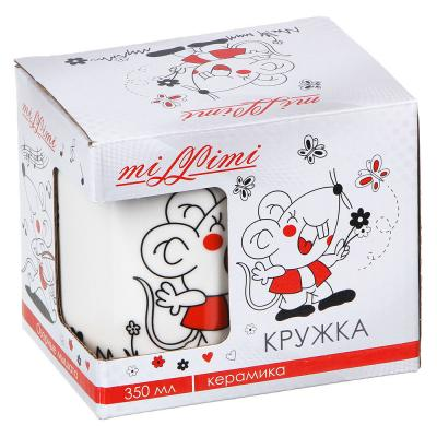 820-058 Кружка MILLIMI Озорные мышата 350 мл, керамика, 4 дизайна, подарочная упаковка