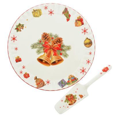 820-069 MILLIMI Новогодняя Набор для торта 2 пр. (блюдо 30см, лопатка 23,5х5,5см), керамика
