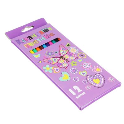 228-105 Джуниор Стикерс Карандаши, 12 цветов шестигранные заточенные, пластик, в карт.коробке с подвесом