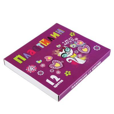239-030 Джуниор Стикерс Пластилин 12 цветов 240 грамм в картонном выдвижном пенале