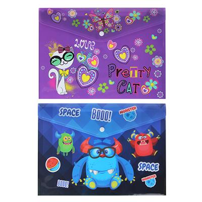 576-010 Монстрики, Джуниор Стикерс Папка А4 с кнопкой, с цветной печатью, 160мкр, полипропилен, 2 дизайна