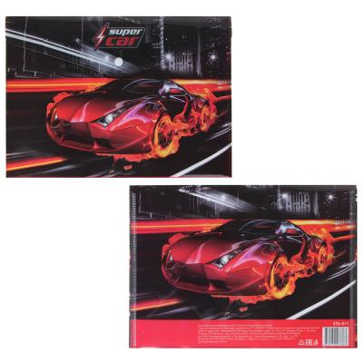 576-011 Суперкар, МЯУ! Папка А4 с кнопкой, с цветной печатью, 160мкр, полипропилен, 2 дизайна