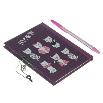 234-018 МЯУ! Набор подарочный (блокнот на замке и ручка) бумага, пластик, 19х18см
