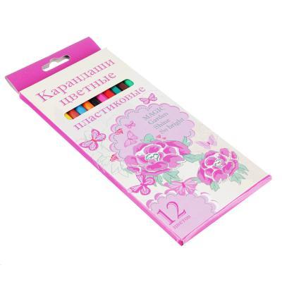 228-111 Джуниор Гарден Карандаши, 12 цветов, шестигранные заточенные, пластик, в карт.коробке с подвесом