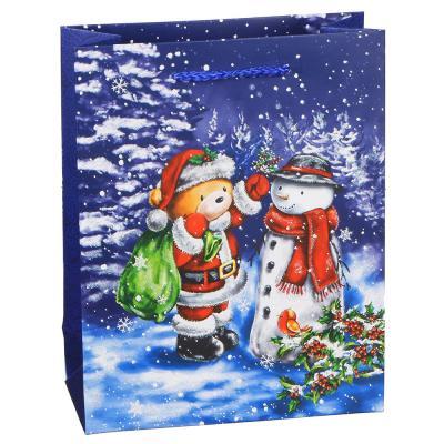 369-367 Пакет подарочный СНОУ БУМ 23х18х8 см, бумага высокого качества с глиттером, 4 дизайна, арт 23