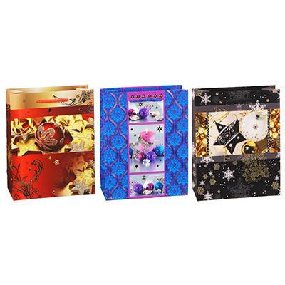 369-374 Пакет подарочный СНОУ БУМ 23х18х8 см, бумага высокого качества с блеском, 3 дизайна