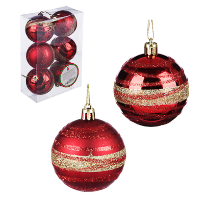 373-197 Елочные шары набор СНОУ БУМ 6 шт, 6 см, пластик, красный и золото, коробка ПВХ, 2 дизайна