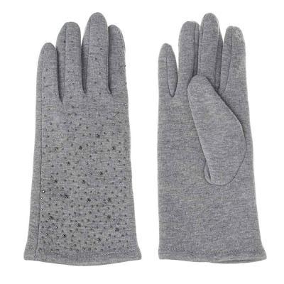 363-214 Перчатки женские контактные со стразами, размер универсальный, 30% хлопок, 70% полиэстер, 3 цвета