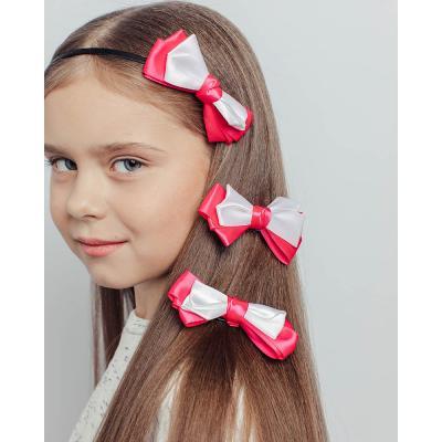 316-328 Набор аксессуаров для волос 3пр: ободок 0,5см, заколка-зажим 2шт 9см, полиэстер, сплав, 3 цвета