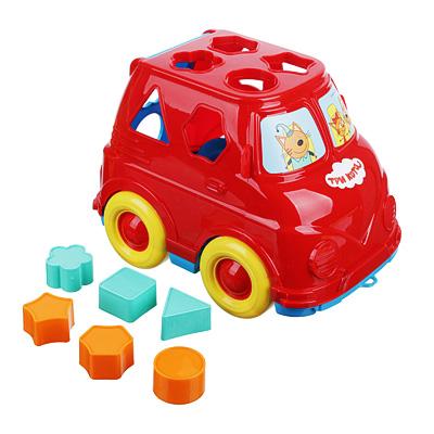 "270-008 Сортер-микроавтобус ""Три кота"", пластик, 22х14х16см, 2 дизайна"