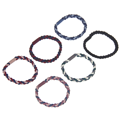 322-212 Резинка для волос, плетение косичка, d=5см, полиэстер, 4-6 цветов
