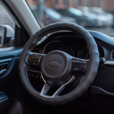 708-110 NEW GALAXY Оплетка руля, натуральная кожа, цвет черный, размер M