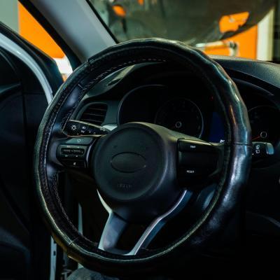 708-113 NEW GALAXY Оплетка руля, натуральная кожа глянец, цвет черный, размер M