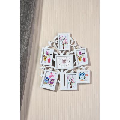 424-024 Фоторамка в форме дерева с часами на 6 фотографий, 1хАА, 32х36 см, пластик, 2 цвета, арт.А3