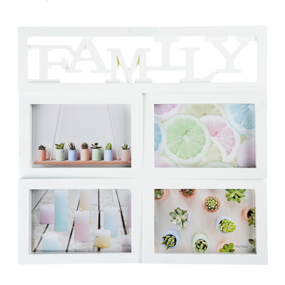 "424-029 Фоторамка на 4 фотографии ""FAMILY"", 33,5х32см, пластик"