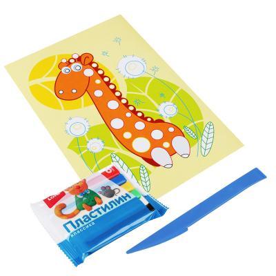 281-173 ЛОРИ Картинка из пластилина, цветной пластилин, основа - картон, стек, 21х15х14см, 4 дизайна